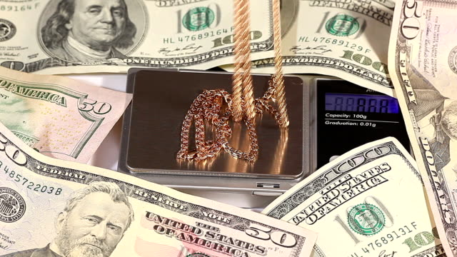Gold chain weighed  on electronic scale video