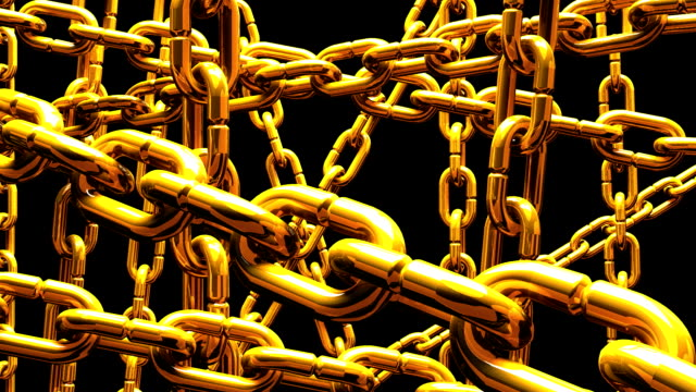 Gold Chains Abstract On Black Background video