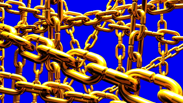 Gold Chains Abstract On Blue Chroma Key video