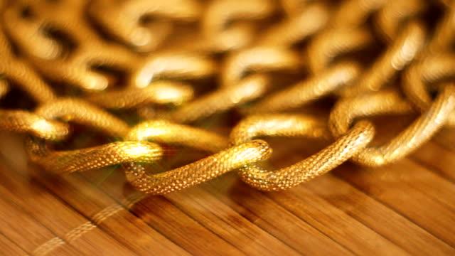 Gold chains closeup video
