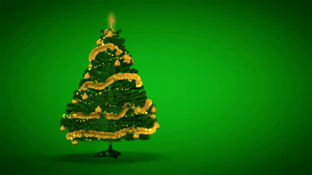 Gold Christmas Tree on green background video