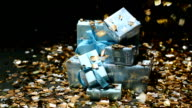 Gold confetti falling on blue gifts boxes video