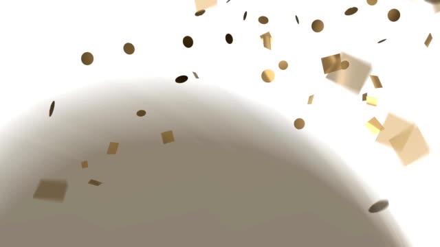 Gold confetti on white background video