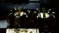 Gold crowns for wedding and Bible video