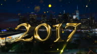 Gold glitter 2017 over downtown Manhattan NYC count down video