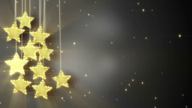 gold hanging stars christmas lights loop video