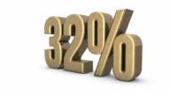 Gold increasing percentage 0% - 100% video