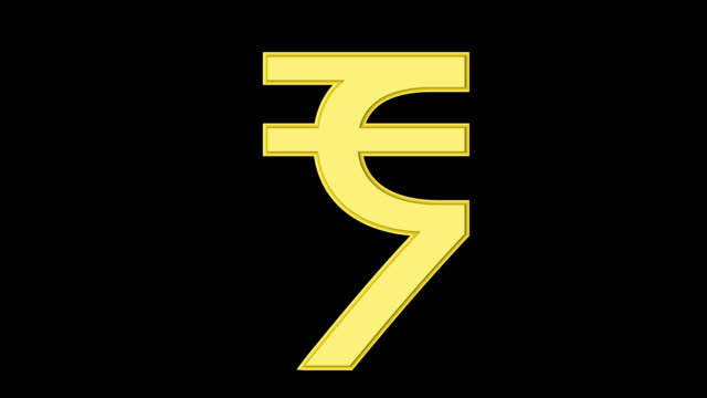 Gold Indian rupee sign isolated on alpha channel video