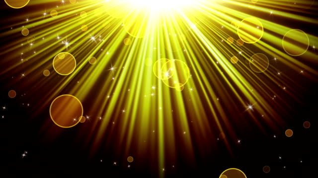 gold rays of light and stars loopable background video