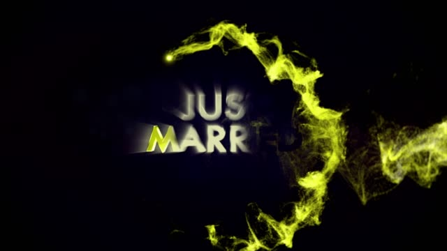 JUST MARRIED Gold Text Animation in Particles Ring, Rendering, Background, Loop video