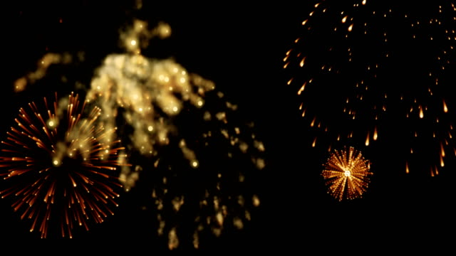 golden abstract blinking sparkle celebration fireworks lights on black background, festive happy new year holiday video