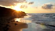 Golden beach sunset. video