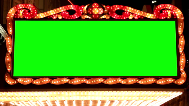 HD: golden bulbs marquee lights background with green screen video