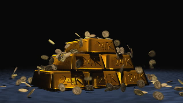 Golden Bullion with Coin Drop (Video) video