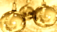 Golden Christmas balls with nice winter reflection. video