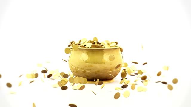Golden coins falling into pot video