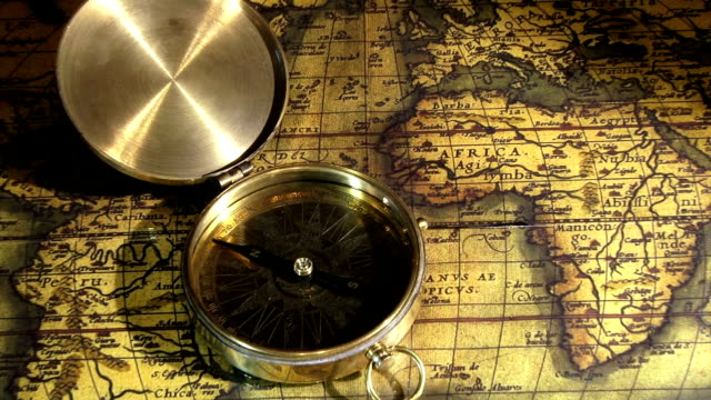 Golden compass and ancient map video