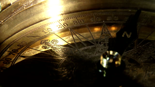 Golden compass, closeup video