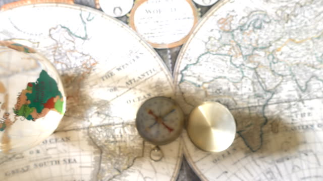 Golden Compass On Antique Map video