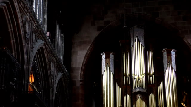 Golden cross in Manchester Cathedral video