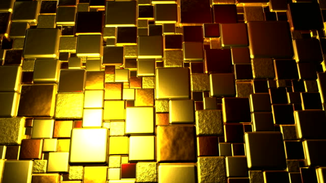 Golden Cubes Background In 4k video