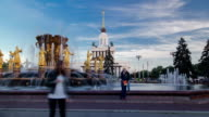 Golden fountain in the national exhibition center timelapse hyperlapse, Moscow, Russia video