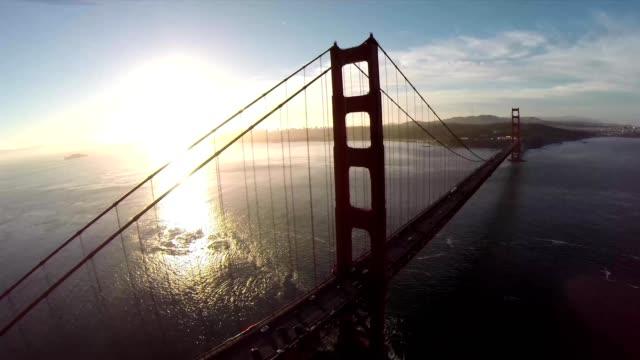 Golden Gate Bridge. Aerial shot of the Golden Gate Bridge in San Francisco on a clear, sunny day. Aerial view Golden Gate Bridge, San Francisco, USA - Aerial low level view Golden Gate Bridge vehicle traffic, Marin Headland, San Francisco, California, Nor video