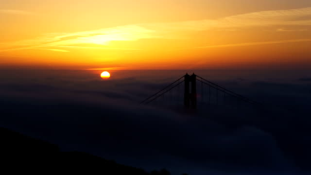 HD Golden Gate Bridge at Sunrise (zooming out) video