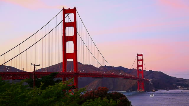 Golden Gate Bridge at sunset video
