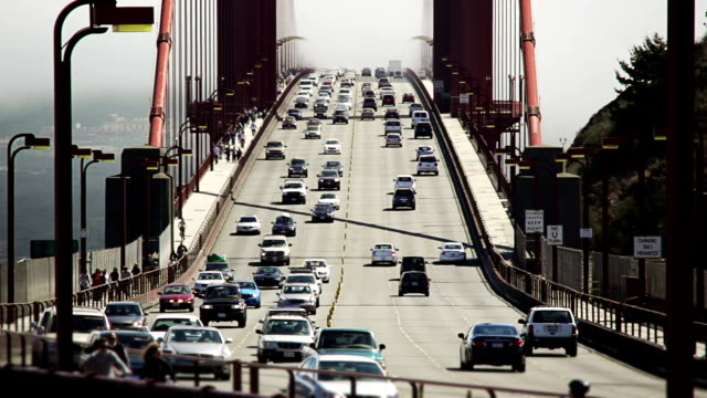 Golden Gate Bridge with fog and traffic video