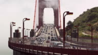 Golden Gate Bridge With Fog Racing Past video