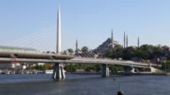 Golden Horn subway station with Suleymaniye mosque on the background video