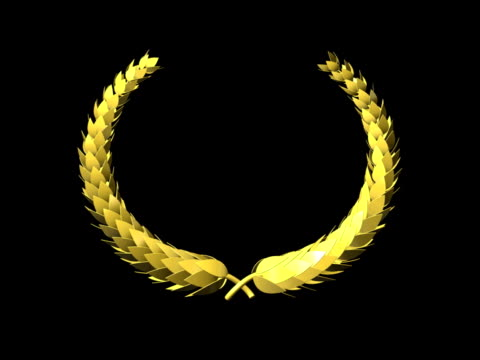 Golden Laurel Wreath, seamless Loop (with alpha) PAL video
