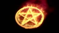 golden pentagram on fire video