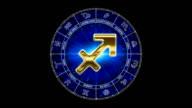 golden sagittarius zodiacal symbol video