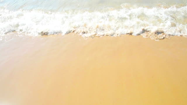 golden sand with beach and tropical sea wave movement, summer time to holiday video