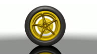 Golden Sports Car Tire Rolling video