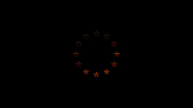 12 golden stars on black background, European Union Symbol, Loopable video