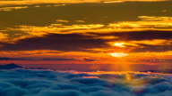 Golden Sunrise Close-up Over Cloud Covered Appalachian Mountains video