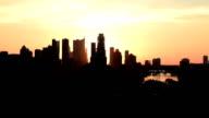 Golden Sunrise over downtown Austin Texas Silhouette morning Zilker Park Clubhouse Overlook. video