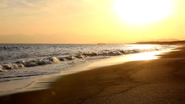 Golden sunset beach video