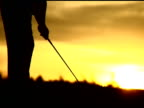 NTSC Golfer Swings Away From Camera Against Sunset video