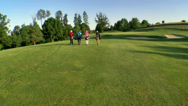 AERIAL Golfers Walking On The Golf Course video