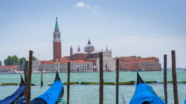 Gondolas and San Giorgio Maggiore, Venice, Italy video