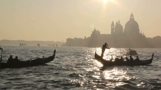 Gondolas in Venice during sunset video