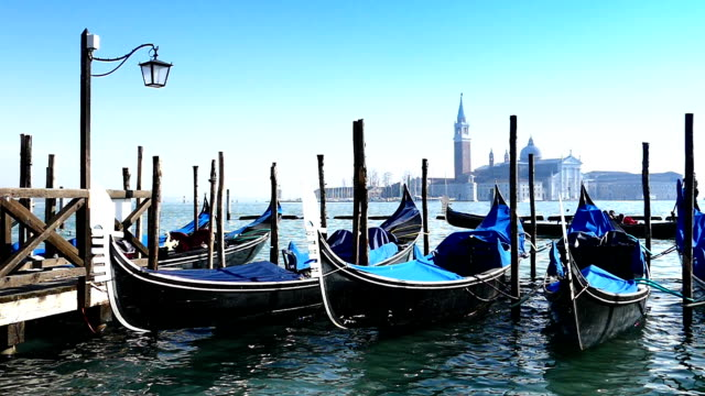 HD Gondolas on the venetian lagoon mammuth - slow motion video