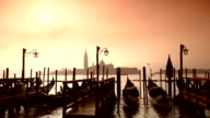 HD Gondolas on the venetian lagoon mammuth - slow motion video