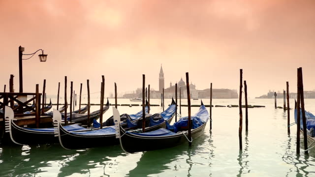 HD Gondolas on the venetian lagoon  - slow motion video