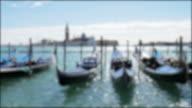 Gondolas on the venetian lagoon , Venice Italy , Blurred concept video