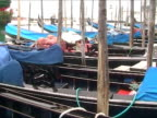 Gondolas parked in San Mark Square - Venice video